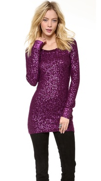 Donna Karan New York Sequins Long Sleeve Tunic