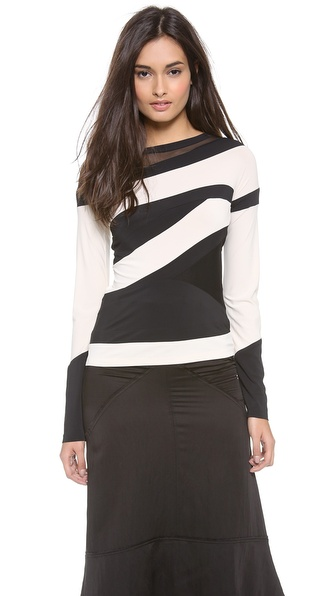 Donna Karan New York Striped Long Sleeve Top