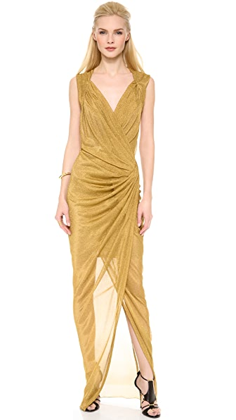 Donna Karan New York Plunge Twist Evening Gown