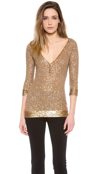 Donna Karan New York Elbow Sleeve Henley