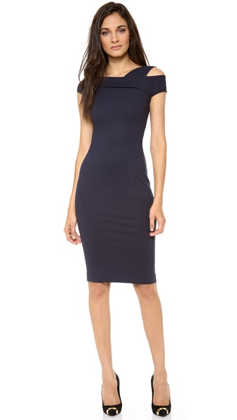 Donna Karan New York Cap Sleeve Cold Shoulder Dress