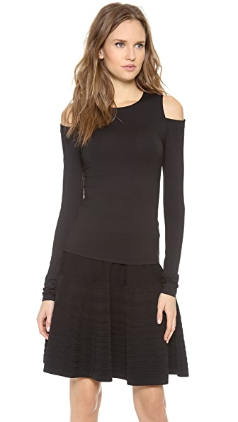 Donna Karan New York Long Sleeve Cold Shoulder Top