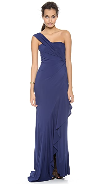 Donna Karan New York One Shoulder Cascade Evening Dress