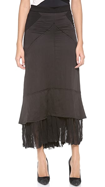 Donna Karan New York Maxi Skirt with Georgette Hem