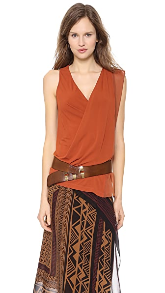 Donna Karan New York Sleeveless V Neck Top with Asymmetric Drape