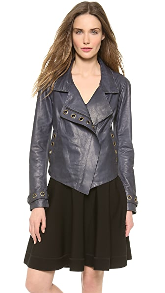 Donna Karan New York Asymmetric Zip Jacket with Grommets