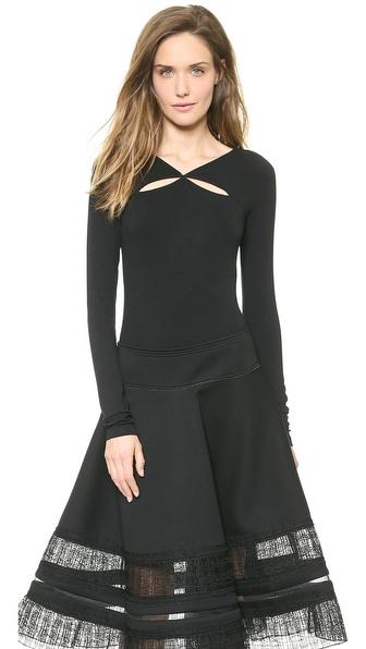 Donna Karan New York Long Sleeve Double Slash Top
