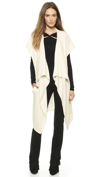 Donna Karan New York Sleeveless Hooded Cozy Sweater