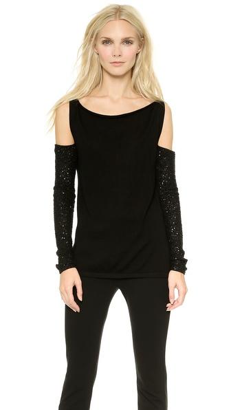 Donna Karan New York Cashmere Slash Shoulder Top