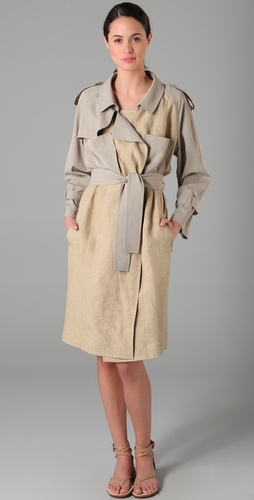 Derek Lam Twill Panel Trench Coat