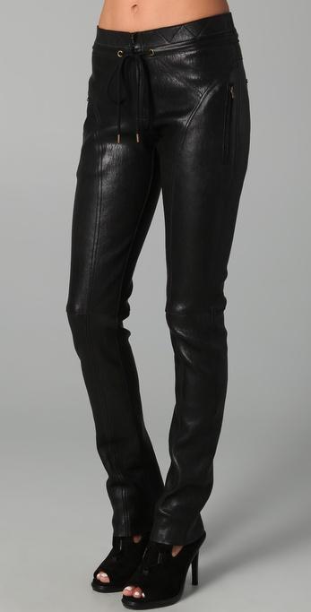 Derek Lam Drawstring Leather Trousers