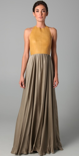 Derek Lam Halter Gown with Leather Bodice
