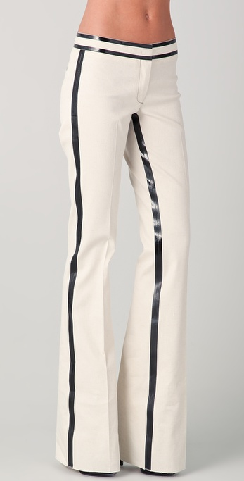Derek Lam Trousers with Black Laminate Stripes
