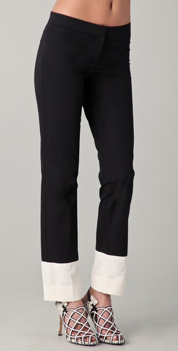 Derek Lam Trousers with White Faille Cuffs