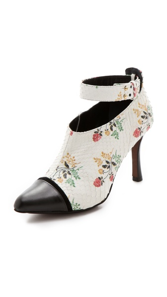 Derek Lam Devon Floral Python Booties