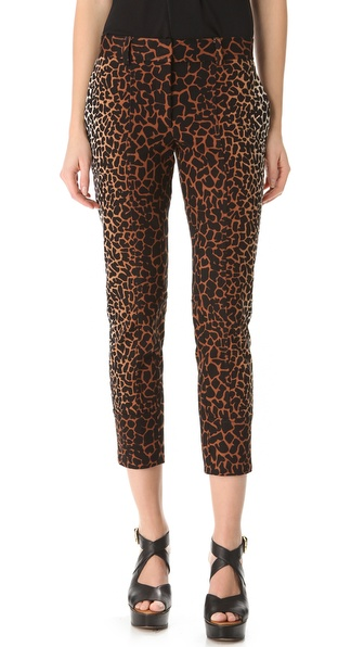 Derek Lam Giraffe Print Cropped Trousers