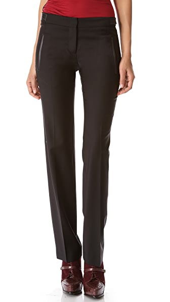Derek Lam Straight Leg Trousers with Faux Leather