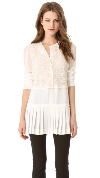 Derek Lam Pleated Hem Blouse