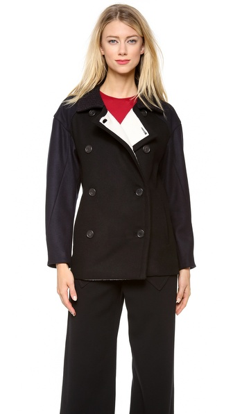 Derek Lam Wool Pea Coat with Navy Front Panel