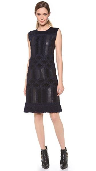 Derek Lam Crochet Dress with Fringe Hem