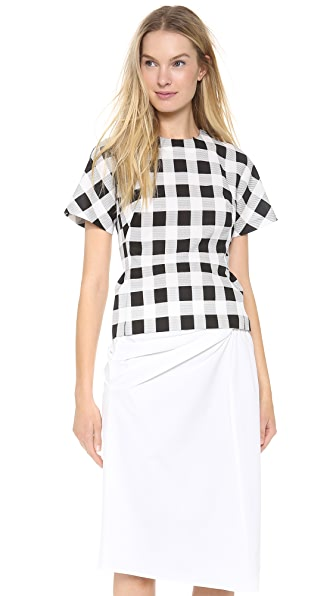 Derek Lam Plaid Faille Short Sleeve T-Shirt