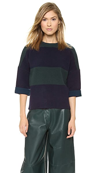 Derek Lam Short Sleeve Combo Sweater