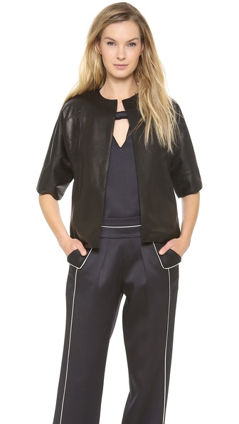 Derek Lam Leather Cardigan
