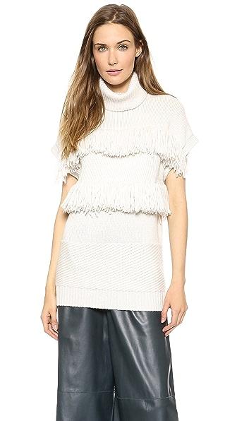 Derek Lam Fringed Turtleneck Sweater Vest