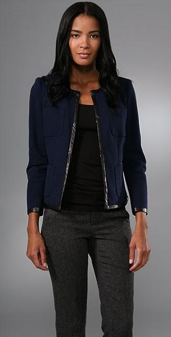 DKNY Bracelet Sleeve Jacket with Leather Trim