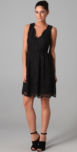 DKNY Lace Dress with Scalloped Hem