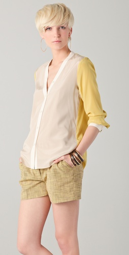 DKNY Colorblock V Neck Blouse