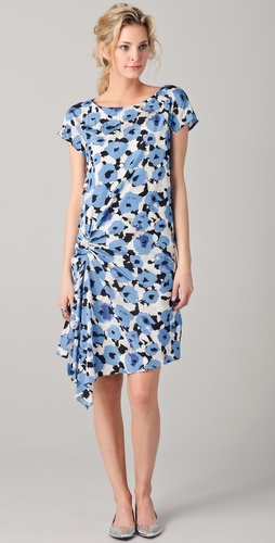 DKNY Calla Floral Gathered Cascade Dress
