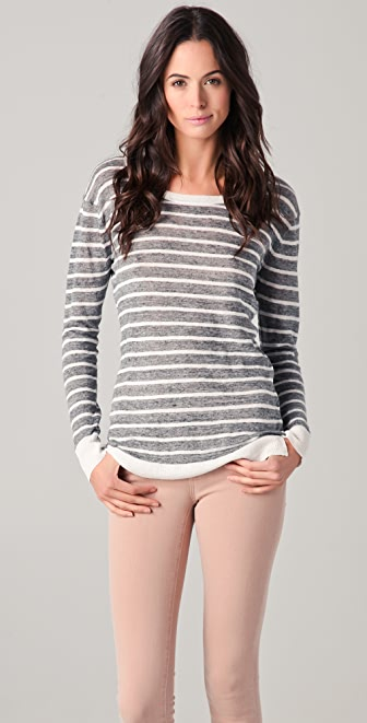 DKNY Pure DKNY Striped Linen Sweater