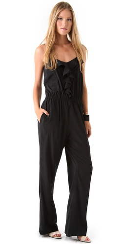 DKNY V Neck Ruffle Jumpsuit