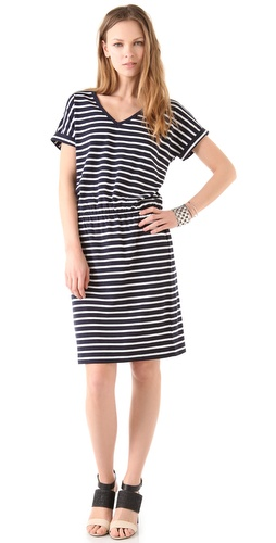 DKNY Short Sleeve V Neck Dress