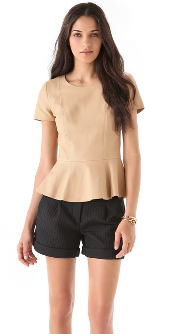 DKNY Leather Peplum Blouse