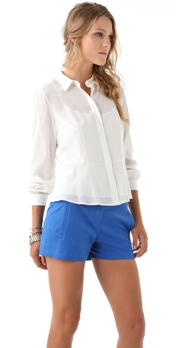 DKNY Button Thru Peplum Blouse