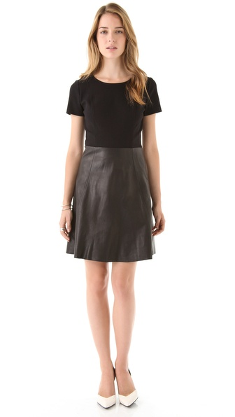 DKNY Ponte and Leather Dress