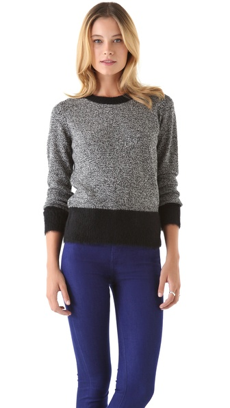 DKNY Tweeded Sweater with Mohair Trim