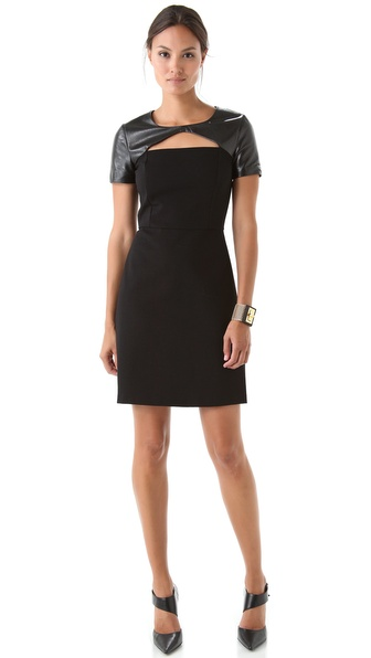 DKNY Short Sleeves Dress with Leather Trim