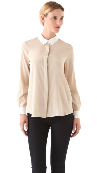 DKNY Collared Blouse with Covered Placket