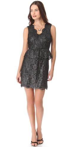 DKNY V Neck Dress with Peplum