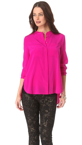 DKNY Band Collar Button Blouse