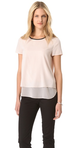 Shop DKNY Tiered Hem Tee and DKNY online - Apparel,Womens,Tops,Blouse, online Store