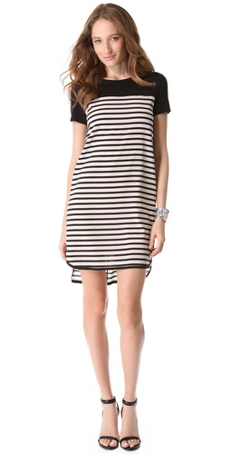 DKNY Stripe Trim Short Sleeve Dress at Shopbop.com