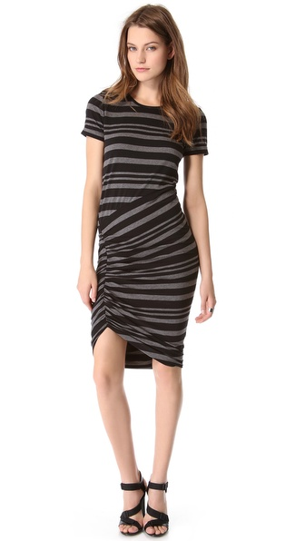 DKNY Ruched Short Sleeve Dress