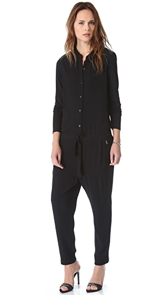 DKNY Pure DKNY Leather Yoke Jumpsuit