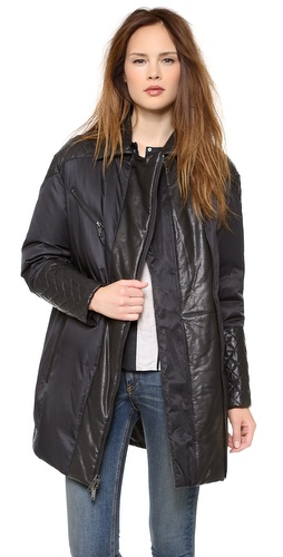 DKNY Puffer Coat with Quilted Leather Trim at Shopbop / East Dane