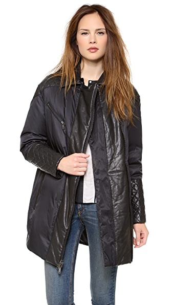 DKNY Puffer Coat with Quilted Leather Trim