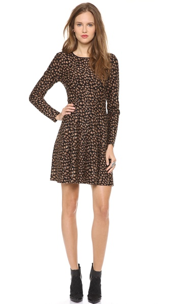 DKNY Leopard Knit Flare Dress